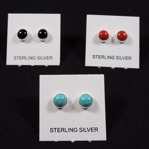 3 Pairs 5mm Sterling Silver Stud Earrings